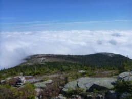 A sea of clouds settle into the valley below an exposed ridgeline.