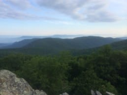 A forest and a distand ridgeline dominate the landscape on this part of the Appalachian Trail.