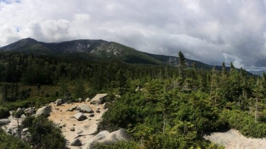 A panoramic view of green mountains, forests, and blue skies.