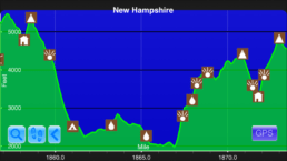 A graph from the Guthook Guides app showing the steepest climb on the Appalachian Trail.