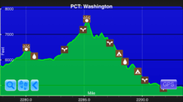 A graph from the Guthook Guides app showing the steepest climb on the Pacific Crest Trail.