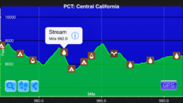 A graph from the Guthook Guides app showing the third steepest climb on the Pacific Crest Trail.