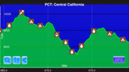 A graph from the Guthook Guides app showing the fourth steepest climb on the Pacific Crest Trail.
