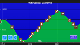 A graph from the Guthook Guides app showing the fifth steepest climb on the Pacific Crest Trail.