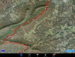 A screenshot from Guthook Guides of farms on the Appalachian Trail.