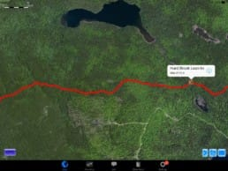 A screenshot from Guthook Guides of logging on the Appalachian Trail.