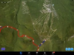 A screenshot from Guthook Guides of a ski resort on the Appalachian Trail.