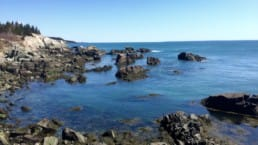 Rock formations are stark against blue water in an unnamed cove on Maine's Cutler Coast.