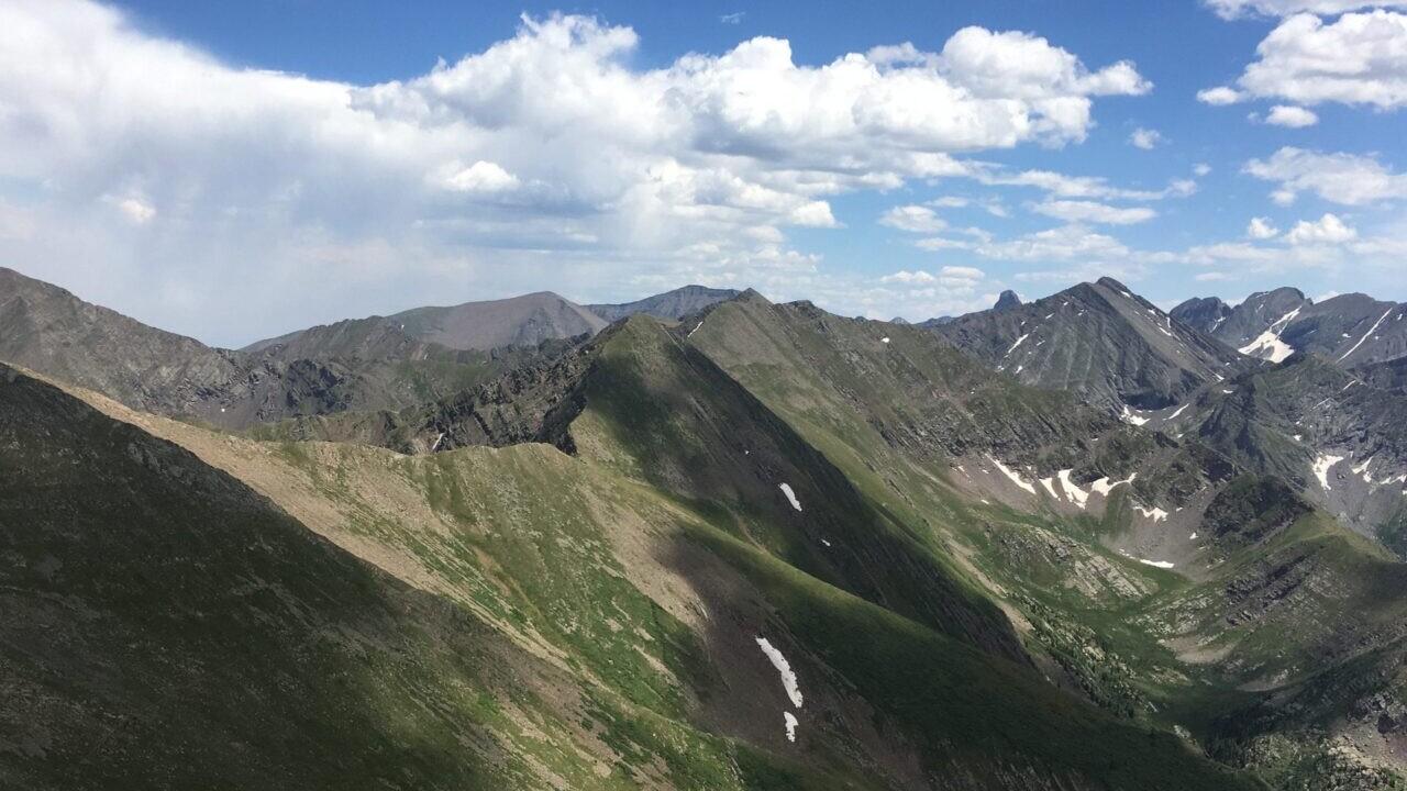 A rocky mountain range in the Sangre de Cristo Wilderness.