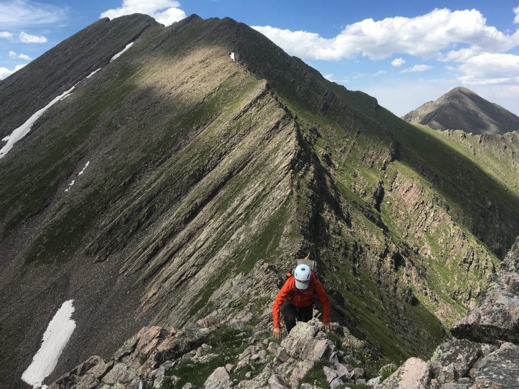 Hiker Box picks his way along the ridge of the Sangre de Cristo Range