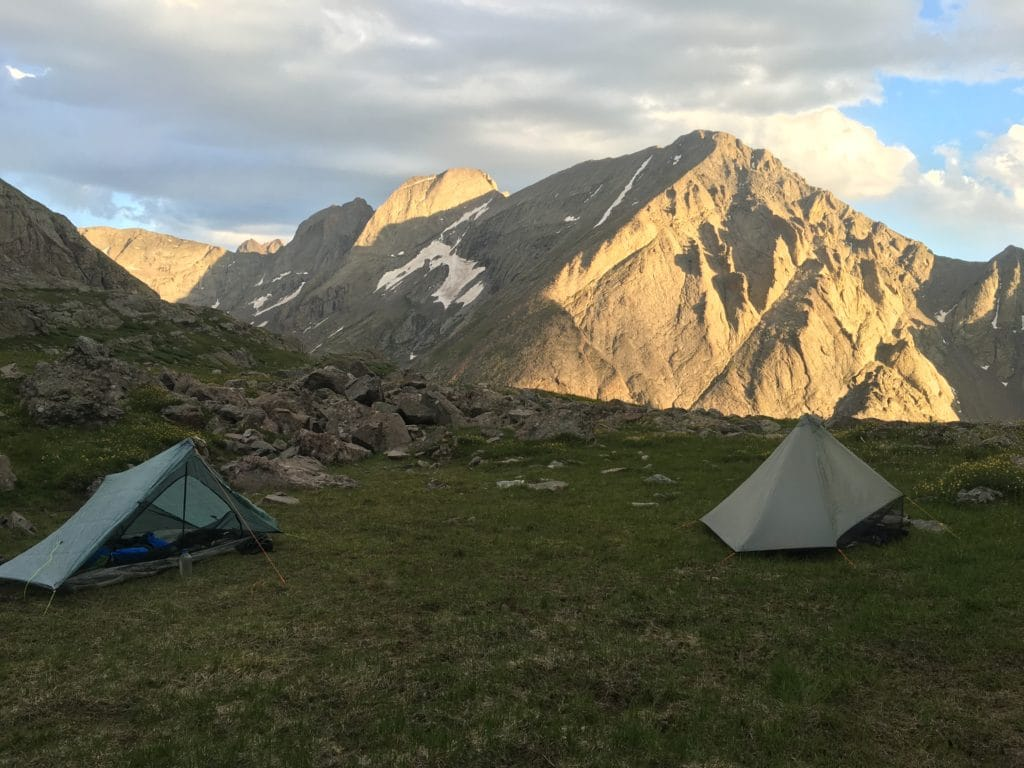 Evening camp below Adams, with alpenglow on Kit Carson Peak.
