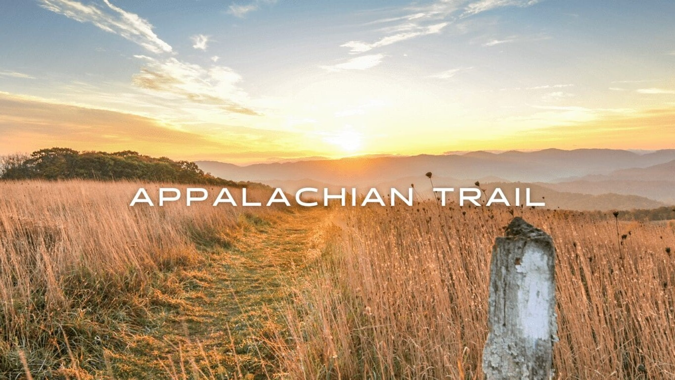 A white blaze and a trail appear through brown grass on top of a hill during sunset on the Appalachian Trail