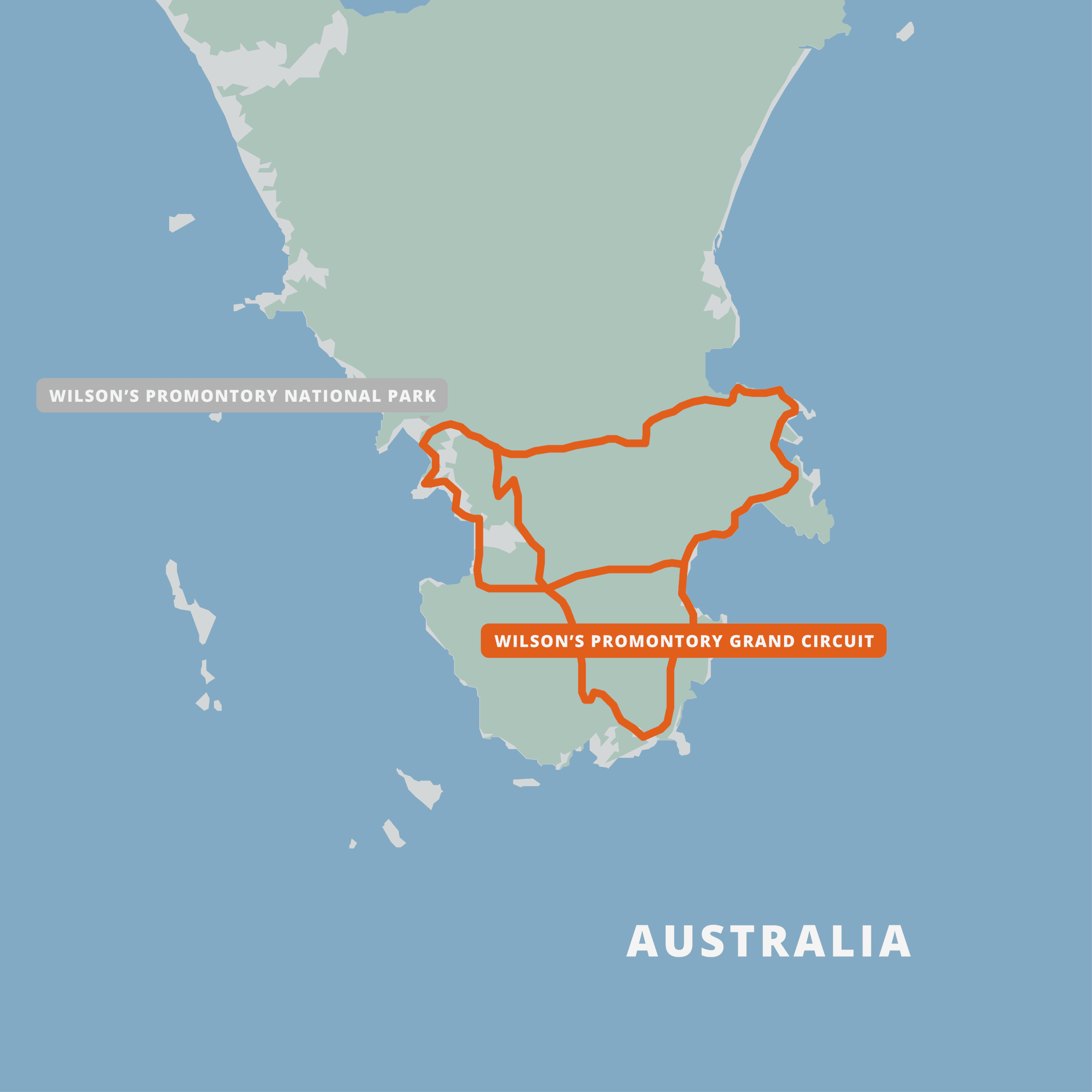 A map of the Wilson's Promontory Grand Circuit.