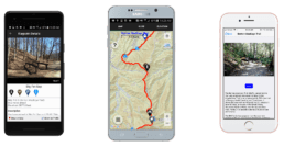 Screenshots of our trail guide app on Android and iOS phones.