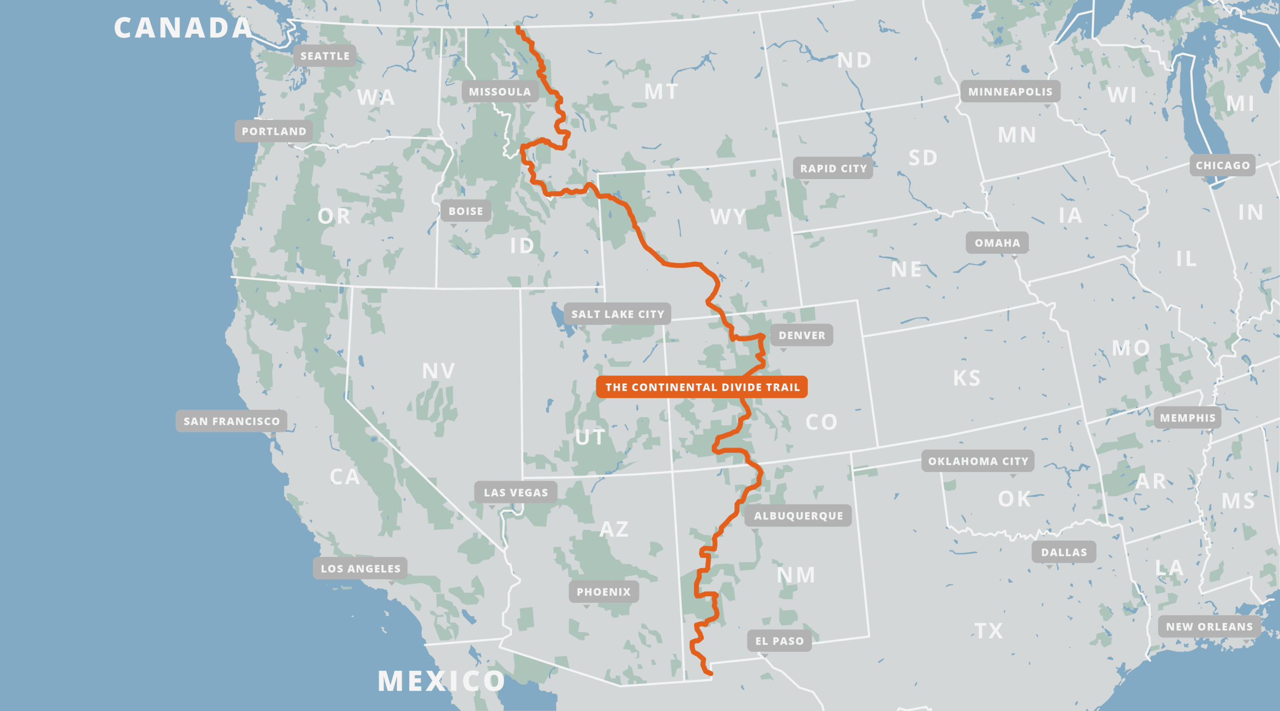 A map of the Continental Divide Trail.