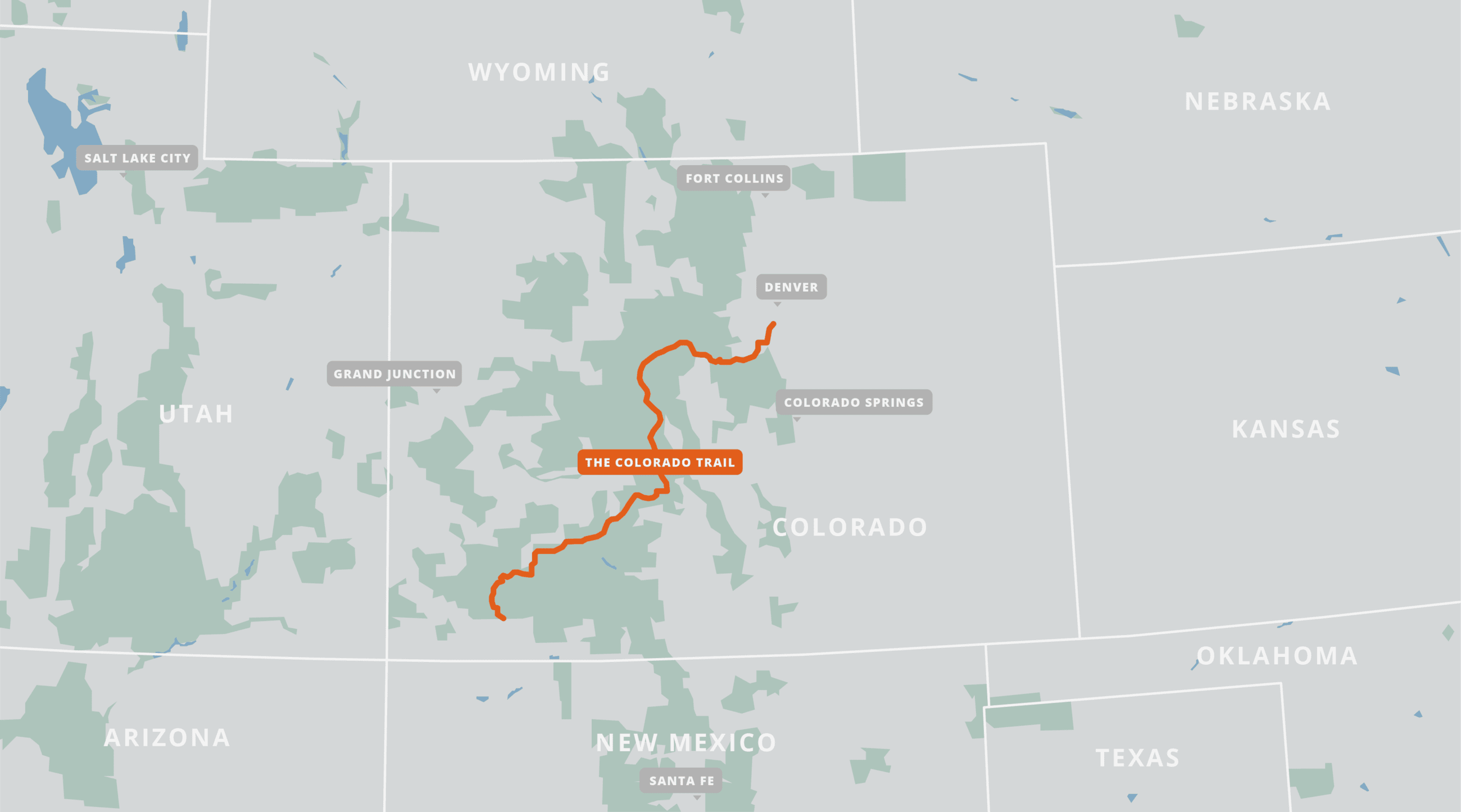 A map of the Colorado Trail.