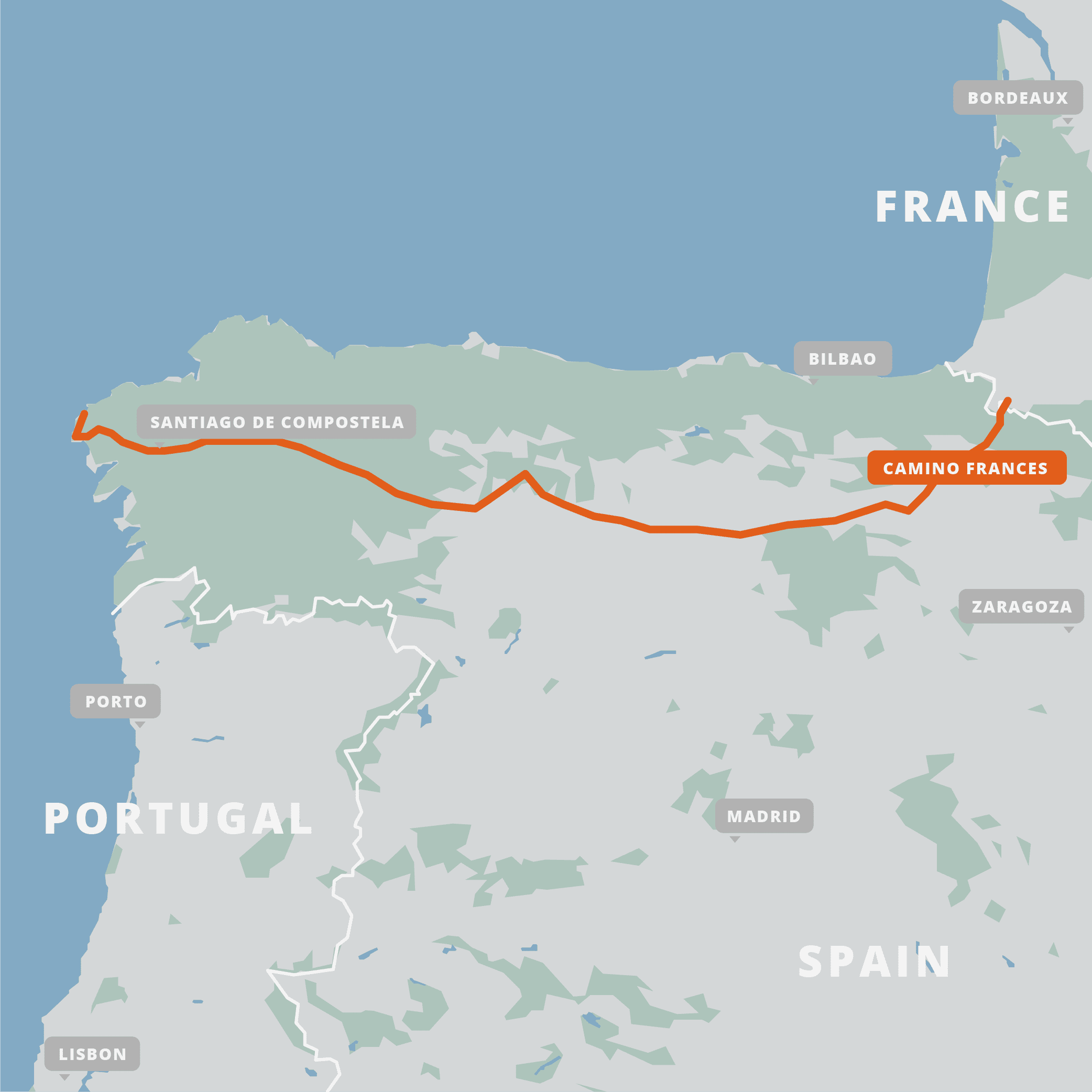 A map of the Camino Frances.