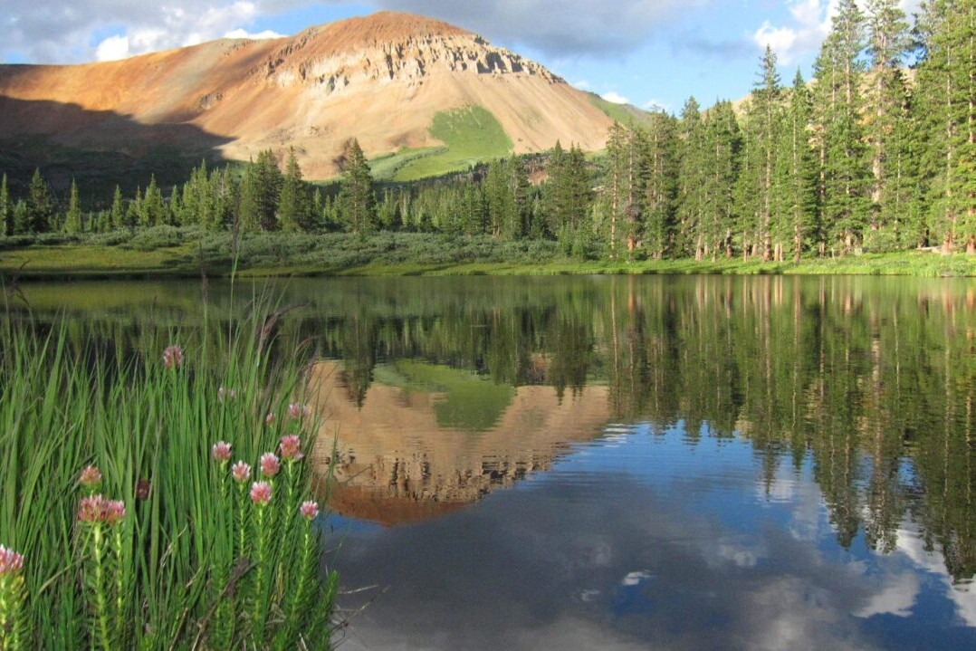 A lake reflects a green forest and a rocky mountain.