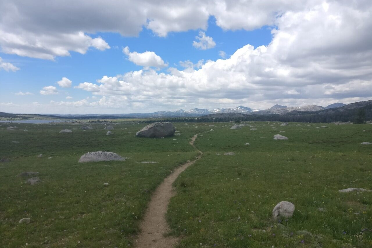 A trail meanders through a green meadow towards distant mountains.