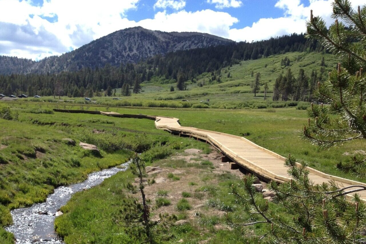 A stream and a boardwalk wind through a green meadow with mountains in the background.