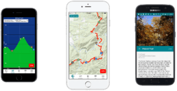 Screenshots of the Guthook Guides Pinhoti Trail app.