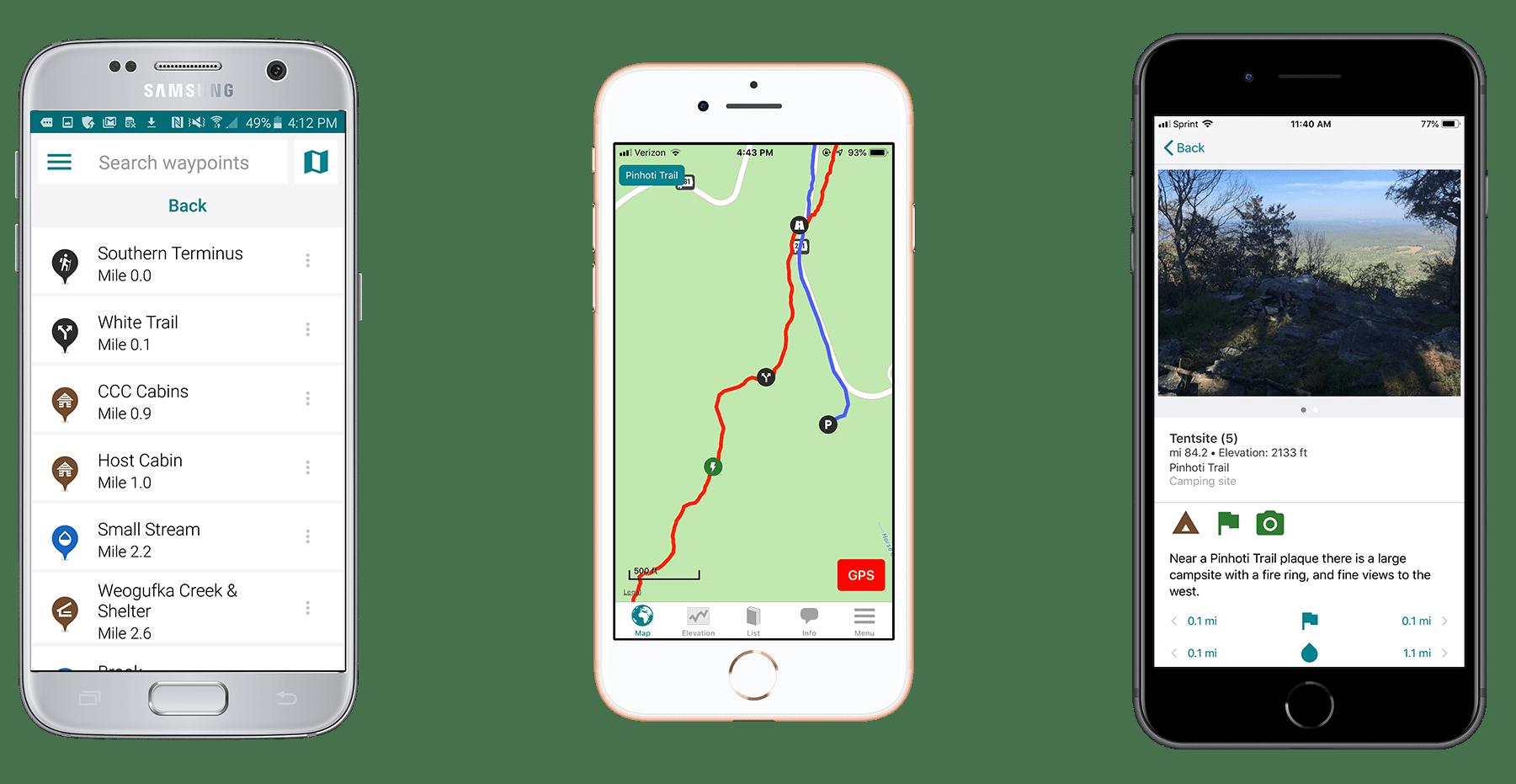 Screenshots of the Guthook Guides Pinhoti Trail app.