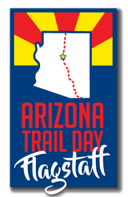 A logo for Arizona Trail Day in Flagstaff, Arizona.