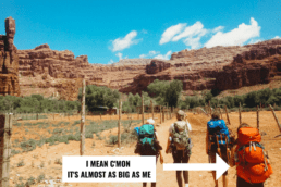 Girls hiking to Havasu Falls with backpacking backpacks.