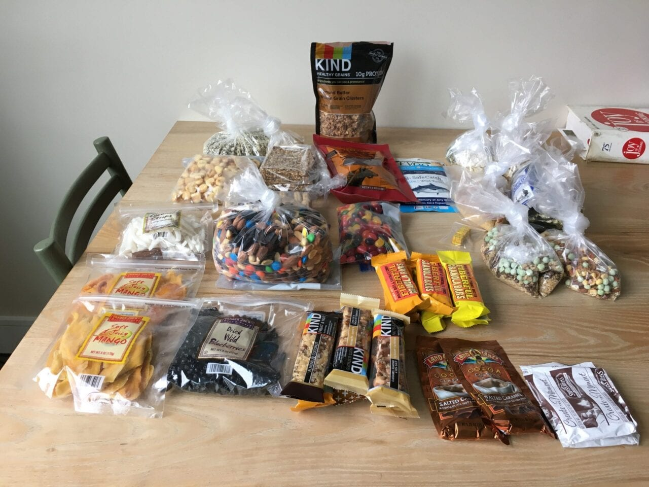 Food packed for hiking trip arranged on a table
