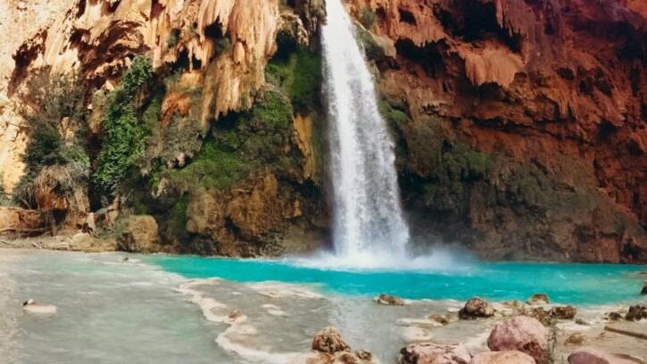 Havasu Falls is a beautiful waterfall in the Grand Canyon.