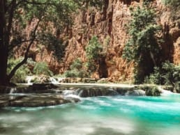 HIking along the stream from Havasupai Falls to Beaver Falls.