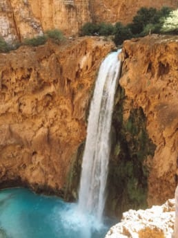 View of Mooney Falls from the top in Havasu Canyon.