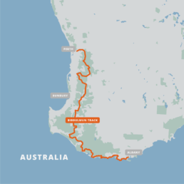A map of the Bibbulmun Track.