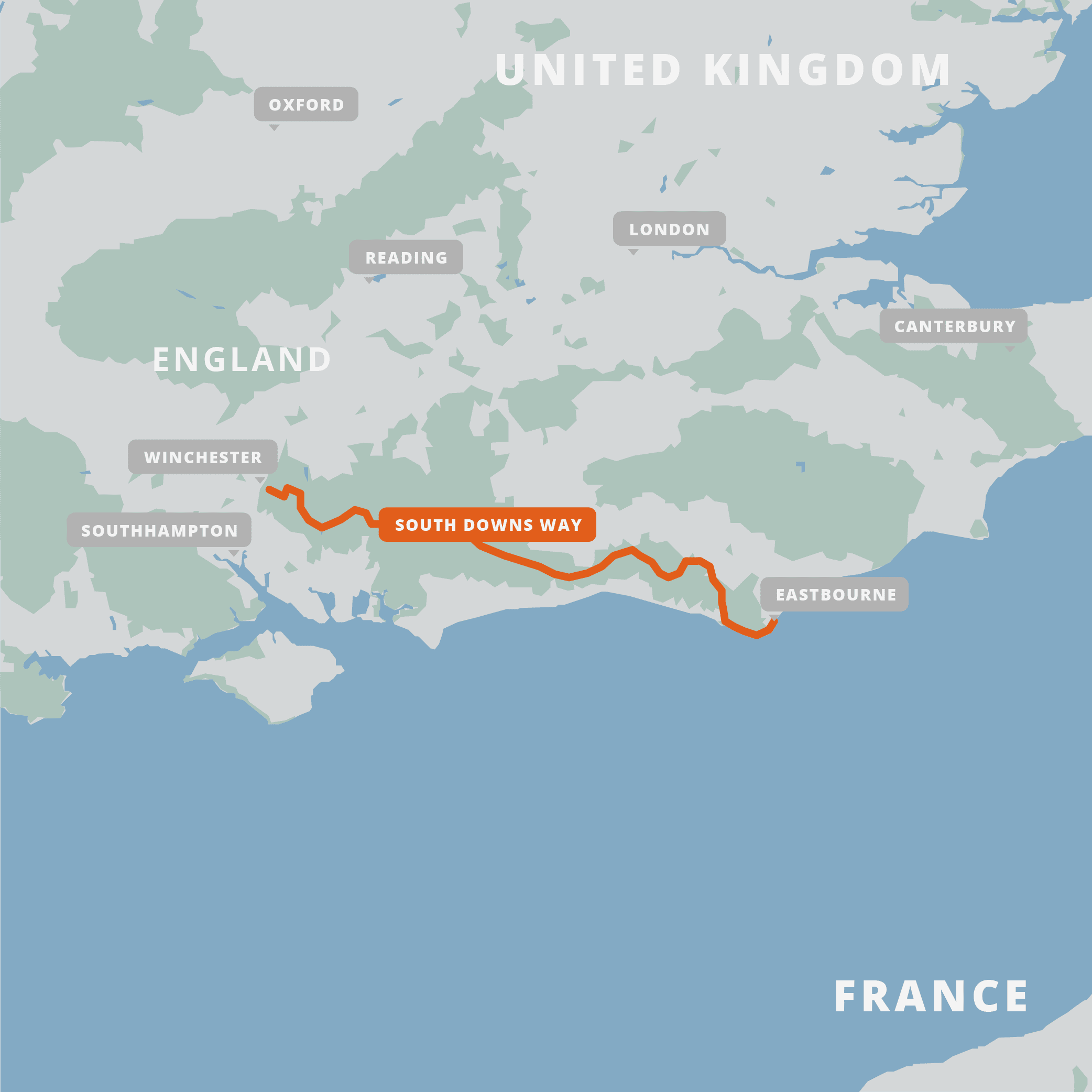 A map of the South Downs Way.
