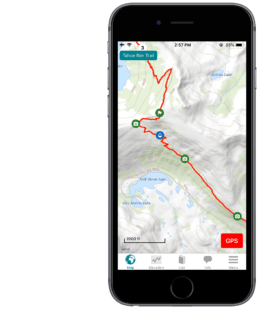 Screenshot of the Guthook Guides Tahoe Rim Trail guide.