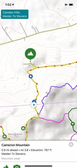 Screen shot of map in Guthook Guides app for Camden Hills Maine