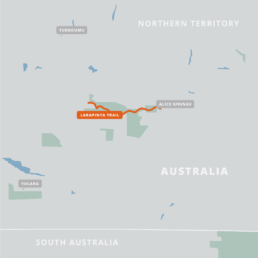 A map of the Larapinta Trail.