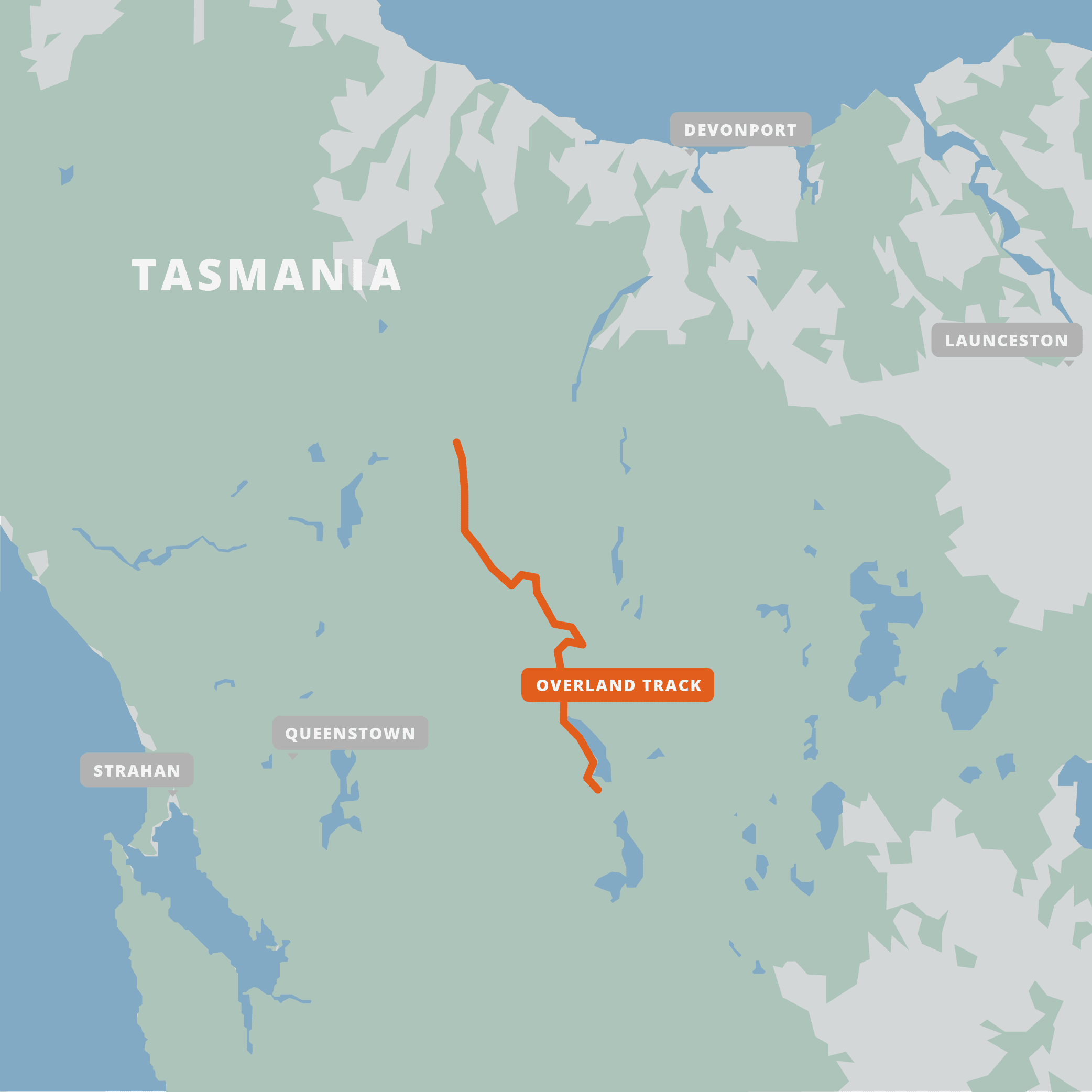 A map of the Overland Track.