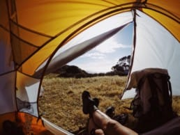 A view from sitting inside a yellow tent.