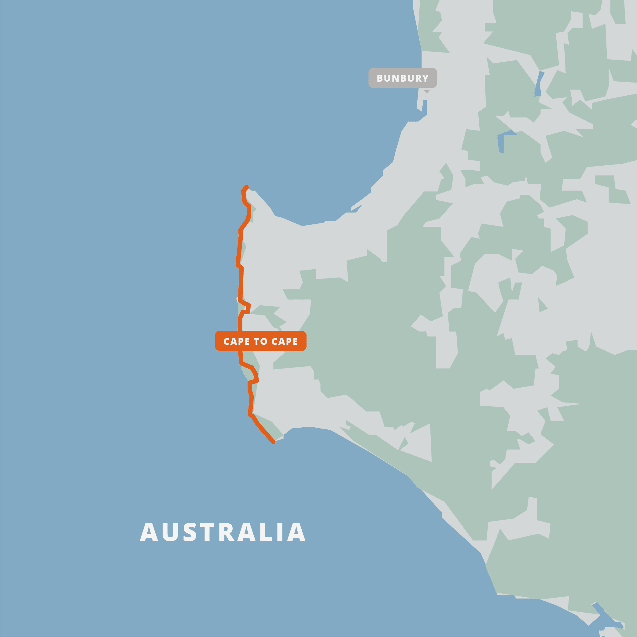 A map of the Cape to Cape Track.