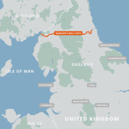 A map of the Hadrian's Wall Path.