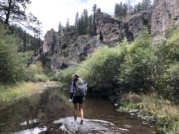 A hiker walking in a river with trees, bushes, and mountains on both sides.