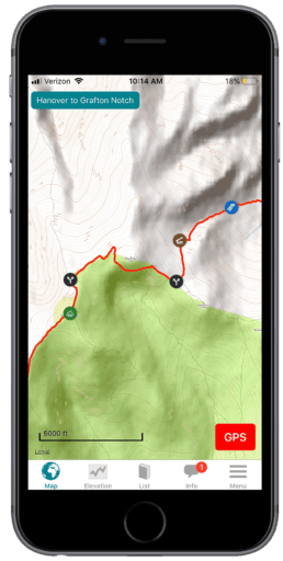 Screenshot of the Guthook Guides Appalachian Trail guide.