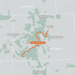 A map of the Colorado Trail Bike Route.