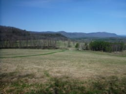 View across a field to mountains in Connecticut