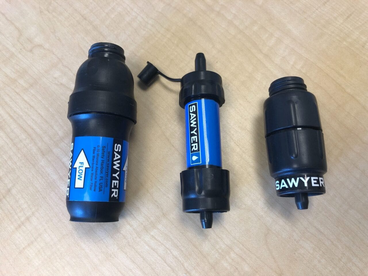 3 Sawyer Squeeze Filters: Left to right are Sawyer Squeeze original, Sawyer Mini Squeeze, and Sawyer Micro Squeeze