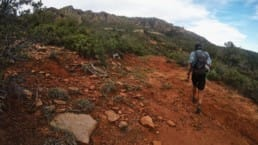 A hiker walking on a red dirt hill.
