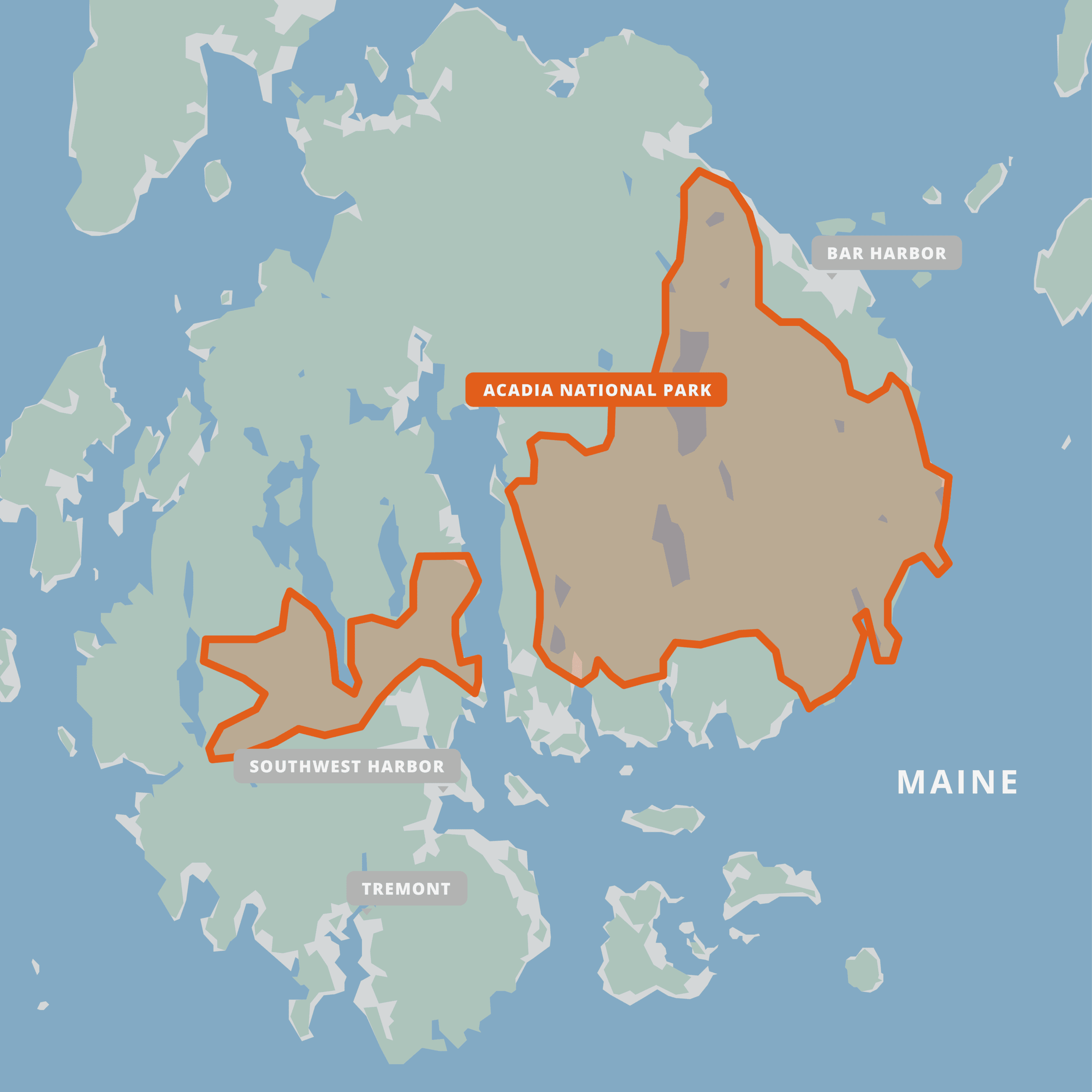 A map of Acadia National Park.