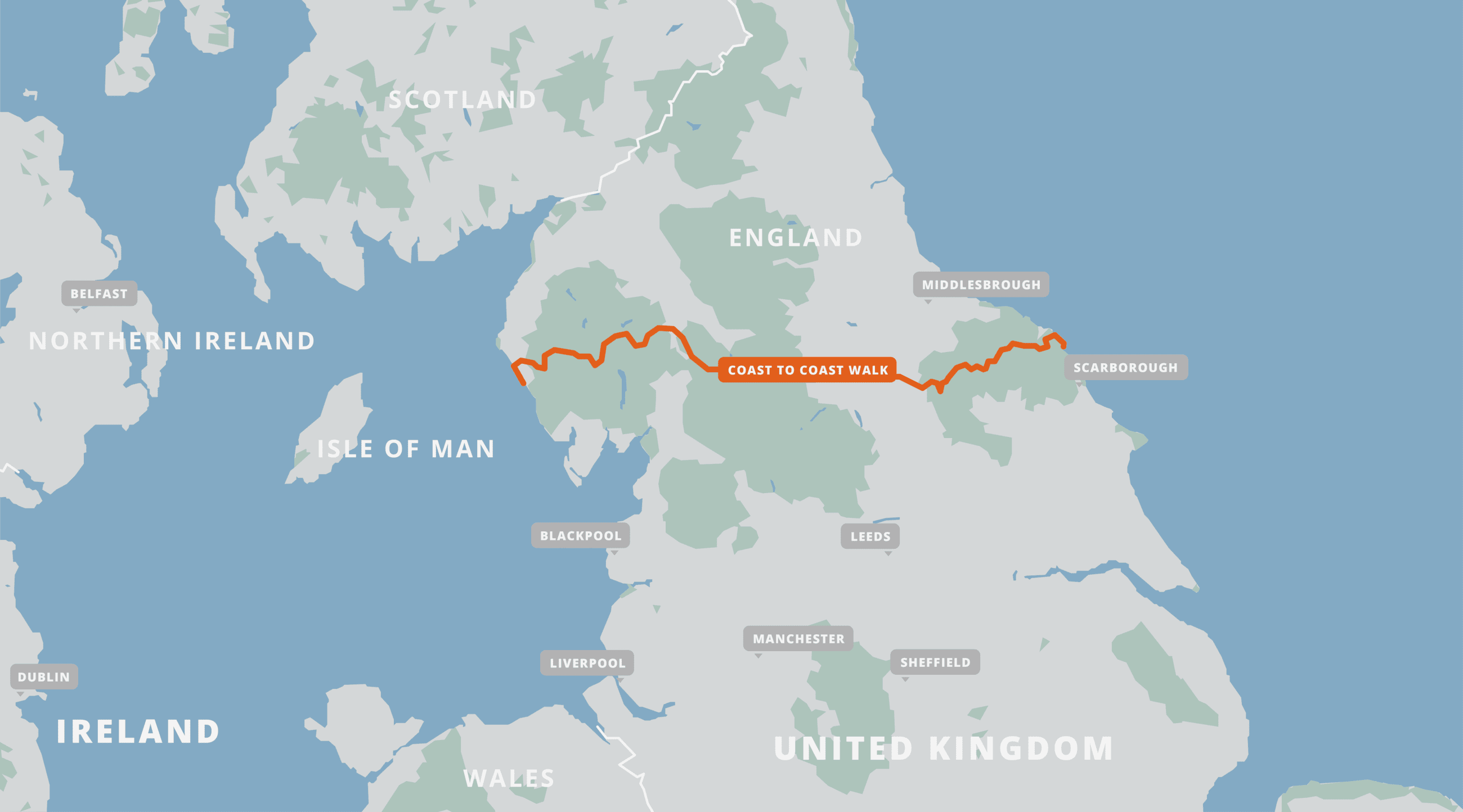 A map of the Coast to Coast Walk.