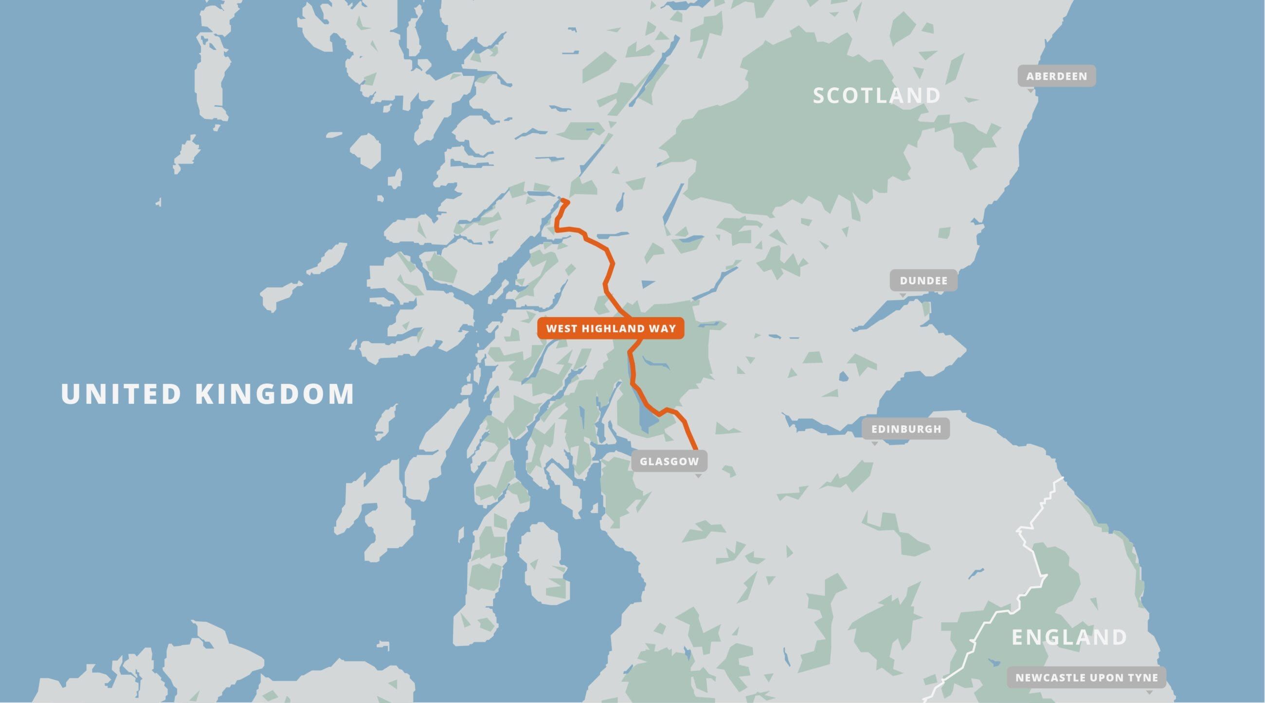 A map of the West Highland Way.